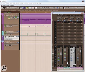 Sending to a Group channel to create a vocal de-esser. Note the automation singling out the offending 'esses', and the orange polarity-invert button on the dedicated 'ess' track, which causes the desired ess-cancellation.