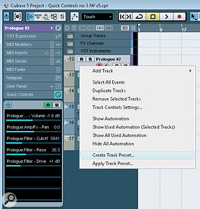 Once you've created a useful set of Quick Controls, these can be saved to a Track Preset — in theory at least!