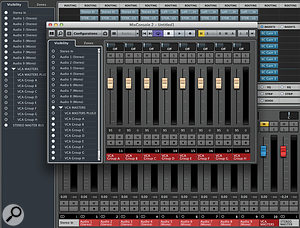 You can use the Visibility controls of Cubase's second (or third) Mixer to create a  dedicated VCA mixer, which you can assign its own shortcut key ('V' for VCA, perhaps?).