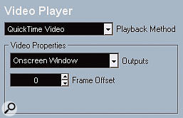 Notice how the settings differ slightly for the Mac and Windows version of the 'Quicktime Video' Playback Method in the Device Setup window.