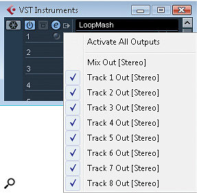 Activating individual outputs for each of LoopMash's tracks can be done via the VST Instruments panel.