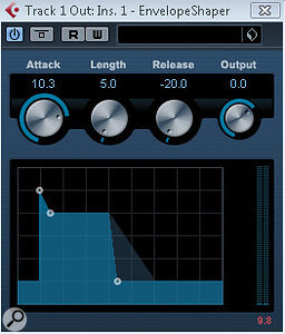 Using the mixer also provides additional processing options for each LoopMash track, via Cubase audio plug‑ins such as the Envelope Shaper.