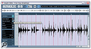 2. In the Definition section of the Sample editor Inspector, define the number of beats and tempo of the audio.