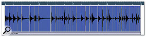 6. After you activate the Slice & Close button, a new audio part containing the audio slices is created in the Project window. Notice how the events coincide with the bars and beats in the ruler to fit the current tempo of the project.