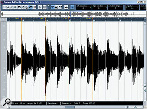 Audio warp is useful for correcting timing drifts in live performances, as shown here with an acoustic guitar part. Warp tabs (in orange) have been used to drag the chord to the starts of bars 18-21 so that the whole performance will play in time with the project tempo. The chord at the start of bar 22, which is a little late compared with the tempo-based grid, has yet to be processed.