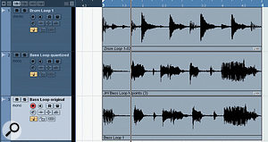 The bass loop in track 2 has been groove-quantised, based upon a groove that was extracted from the drum loop in track 1. Comparing the quantised bass with the original (track 3) immediately shows how some of the bass notes have been repositioned to provide a tighter match to the drum hits.