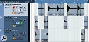 In this example, a beat-sliced drum loop has been dissolved and edited on three tracks to create a variation on the original. The kick-drum slices have been moved to track 2 for separate EQ and compression, while on the third track a kick extracted from a different loop has been used to emphasise beat 1, the snare slice has been reversed (and gain reduced) ahead of beat 2 and an additional kick-drum hit has been added after beat 4.
