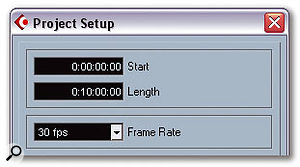 The Project Setup window enables you to set a SMPTE timecode position for the start of the Project, which makes it possible to precisely synchronise the playback of the video in Cubase. The frame rate of the video you're working with is also set in this window.