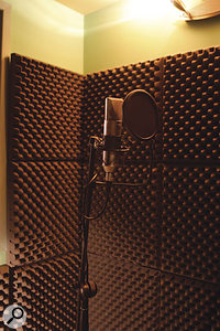 The vocal booth where some of Dizzee's vocals were recorded with a Neumann TLM103 mic.