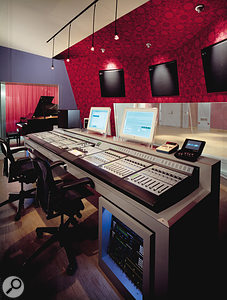 The control room at Firehouse Studios, complete with monster Pro Tools-based mixing setup.