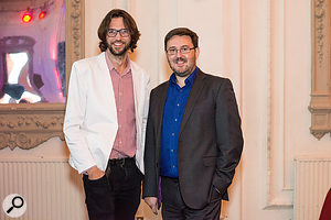 Product marketing manager Daniel Spreadbury (right) with composer Thomas Hewitt Jones at the launch of new composing software Dorico [photo (c) Steinberg Media Technologies GmbH].