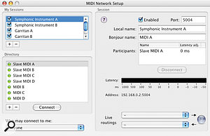 The MIDI Network Setup window can get pretty busy when you're using multiple Sessions, but naming Sessions clearly ensures that it's all easy to keep track of.