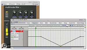 Filtered 'drops' are easy to set up and ever-popular. Here, Multimode Filter's Frequency parameter is being automated.