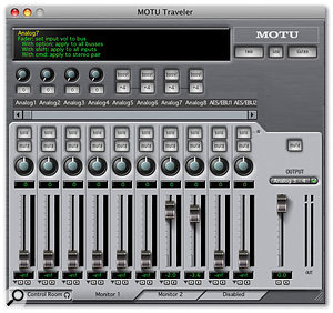 The CueMix Console application is maintaining three simultaneous mixes: Control Room 1, Monitor 1 and Monitor 2.