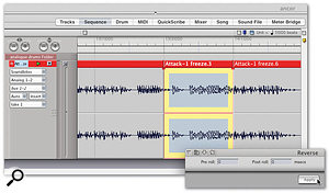 Applying the Reverse plug-in to a 'freezed' section of a drum track.