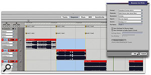 Step 6: Using the markers set earlier for easy Bouncing To Disk of each track.