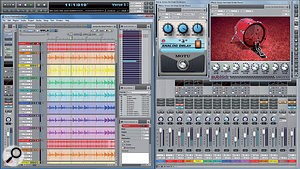 No, your eyes are not deceiving you — this is DP running in Windows 7. The new cross-platform version 8 is a true 64-bit application and includes new plug-ins like Subkick, a specialised kick drum and bass plug-in which emulates the old studio trick of using a small speaker as a mic.