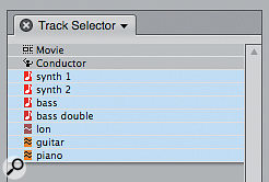 The little button that opens and closes DP's Track Selector is to be found at the bottom of many editing windows, and the Mixing Board.