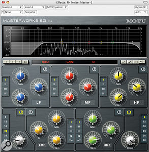 MasterWorks EQ with 24dB/octave high-pass and 6dB/octave low-pass filters enabled, cutting low‑end rumble and high‑frequency hiss.