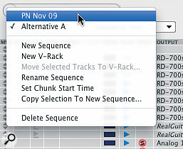 All sequences in a project are accessed from the same Tracks window pop‑up menu.