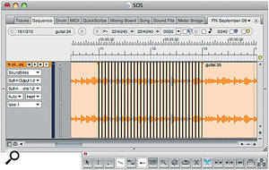 The Scissors tool has been dragged over asoundbite to make aseries of grid‑length segments. Afew of those segments have been muted with the Mute tool, to create an instant stutter/glitch effect.