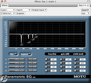 A 'hum killer' EQ set up to cut 50Hz mains hum and its harmonics.