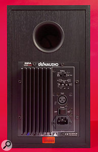 The speaker's reflex port, flared both externally and internally, appears at the top of the rear panel. The only audio input is on balanced XLR, and level control is limited to a three-position switch. The three EQ switches allow you to tailor the tonality of the speaker within your room.