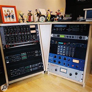 Some of the rackmount gear at Phantom Studios. Left, from top: Manley line mixer, MOTU MIDI Timepiece synchroniser (x2), MOTU 828 interface (x2). Right, from top: Alesis Masterlink CD master recorder, TC Electronic Fireworx effects, Yamaha SPX200 effects, API parametric and graphic EQs, Tube-Tech CL1B compressor and Teletronix LA2A compressor.