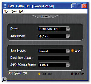 With a concise yet informative display, this control panel is a doddle to use compared with the sophisticated but confusing Patchmix DSP utility of previous Emu interfaces.