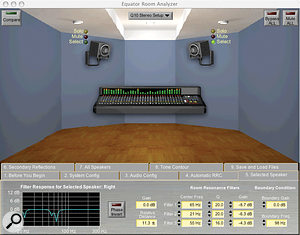 A screen shot from Equators's automatic room calibration software.