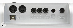 A small rear connection panel hosts two MIDI outs and three control pedal inputs. The USB connector will provide USB buss power from your computer and can be used for MIDI output, but appears to have no other uses as yet. A 9V PSU input is provided for those not using the 176 Plus with a computer.