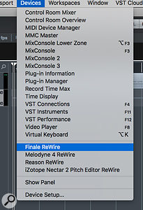 You can now synchronise playback between Finale and your DAW/sequencer using ReWire, as shown here from within Cubase 9.