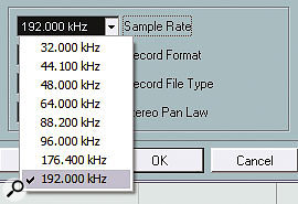 Here you can see a Fireface-based Nuendo system being set to a 192kHz sampling rate in the Project Setup window.