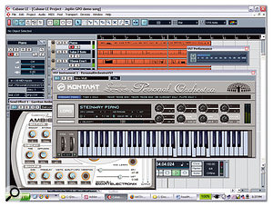Three instances of GPO Player and the Ambience reverb plug-in running with the bundled Cubase LE, showing the Joplin GPO Demo Song.