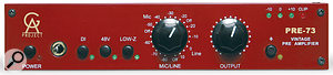 The GA Pre 73 gives you everything that you'd expect on agood preamp, including inputs for mic, line‑level and DI signals, as well as a polarity-invert button and an LED level meter. The gain control layout borrows from the Neve 1073, with three 'off' positions, the one between the 50 and 55dB positions being for asecondmic gain-stage.
