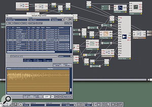 Here you can see the internal construction of the Travelizer instrument, centred around Reaktor's Grain Cloud module. The window on the left selects samples from your computer's hard drive for granular processing. The left-hand side of the Grain Cloud module has a long list of nodes, with cables attached from various controllers and other modules. This represents all the parameters that can be controlled and modulated, and is the key to the extraordinary variety of sounds the unit can generate.