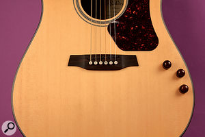 The GK pickup's output socket can be fitted to the side of the guitar.