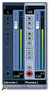 If you want to avoid unpleasant one-ear headphone sounds in your mixes, just back off slightly on those extreme pan settings. Here, for instance, using Cubase 4 as an example, the pan setting for channel 1 will sound odd on headphones, while that of channel 2 (highlighted) should sound fine.
