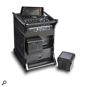 For transport or storage, two mid/top speakers can be stored within the subwoofer.