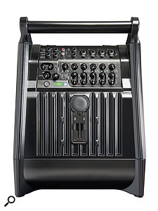 The subwoofer/base unit also houses the system's input connections and controls.