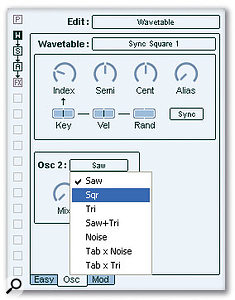 As well as FM (not shown), Hypersonic 2 features subtractive analogue-style synthesis, sample playback and wavetable synthesis.