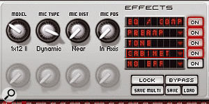 The Preamp, Tone, and Cabinet options form the basis of IK's guitar amp-modelling software Amplitube, and are welcome in Sampletank 2.