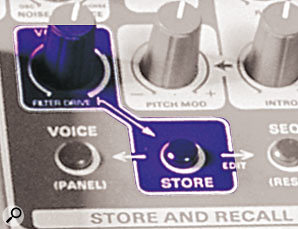 OSCar front-panel detail, showing the arrow connecting the Volume and Store button. The legend 'Filter Drive' is just visible under the volume control.