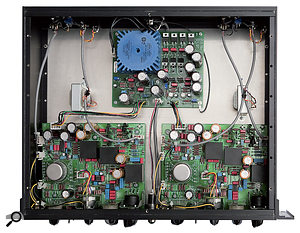 The custom Sowter input transformers can be seen on the lower two PCBs in this picture, and the Jensen output transformers are bolted to the chassis just above these boards. All this iron lends arichness to the MPA685's sonic character.