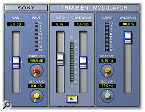 Jason Goldstein's mix for 'Déjà Vu' used both hardware and software processors. Of the latter, the URS Fulltec EQ (top) added weight to the kick drum, while Sony's Oxford Transient Modulator was used to shape the attack of the kick drum and finger-snap sound.