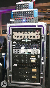 """One of Rich Costey's racks, containing an impressive array of classic and modern gear, including a Chandler EMI TGI2345 Curve Bender EQ; two Mercury EQ-Hi Program Equalizers; Thermionic Culture Vulture; an SPL Transient Designer that was used to lengthen the sound of the toms; an SPL De-esser that was applied to the vocal tracks; a Roger Mayer Model RM58, which compressed the background vocals; a pair of Universal Audio 1176 limiters, which Costey used to make Dave Grohl's guitars """"more aggressive""""; an EAR 822Q EQ; and a pair of EAR 660 Limiting Amplifiers that came into play for bus compression."""