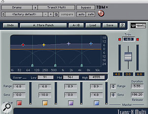 Waves' Trans-X Multi was used to add more transient attack to the 'Buttons' drum loop.