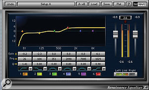 40's processing chain for the sawtooth bass synth included Waves' Renaissance EQ and Bass, and Avid's Lo-Fi, abig favourite of his.