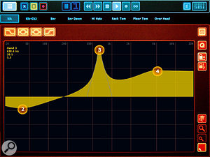 The EQ View allows complex EQ curves to be manipulated at the touch of a finger, via numbered 'handles' that the user can slide around the screen. Handle positions can be locked to prevent accidental shifting.