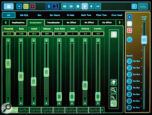 The Insert View offers sliders for controlling the parameters of effect and processing plug-ins.